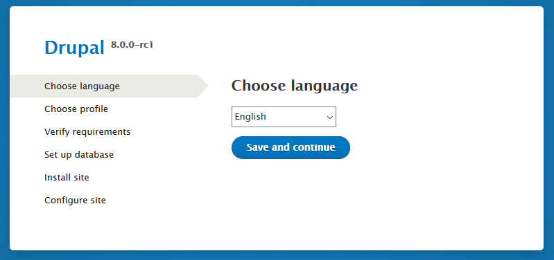 Drupal 8 RC1 installer choose language