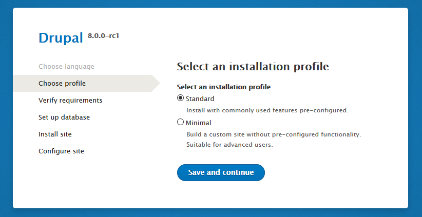 Drupal 8 RC1 installer select profile