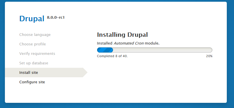 Drupal 8 RC1 installer progress bar
