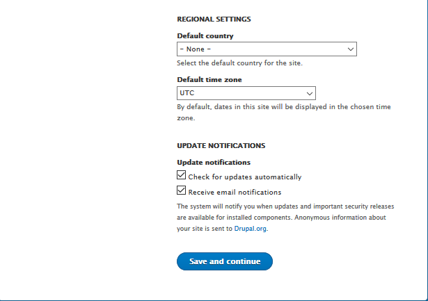 Drupal 8 RC1 installer configure site regional settings