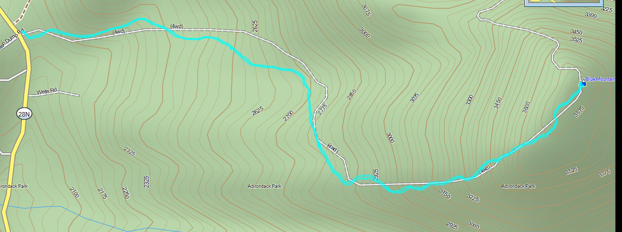 GPS Track of hike overlayed on a topographical map
